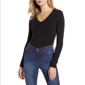 Madewell Black Long Sleeve Body Suit V Neck